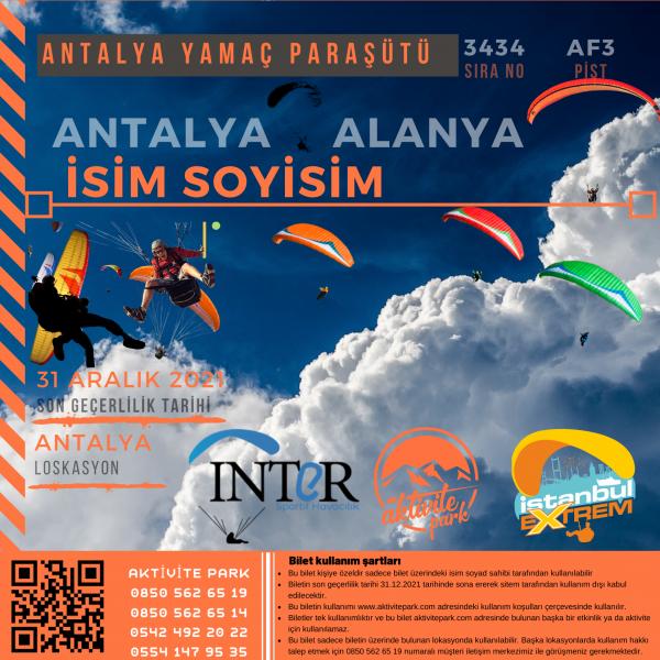 Antalya Yamaç Paraşütü Hizmeti 2021