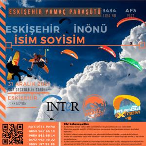 Eskişehir Yamaç Paraşütü Hizmeti 2021